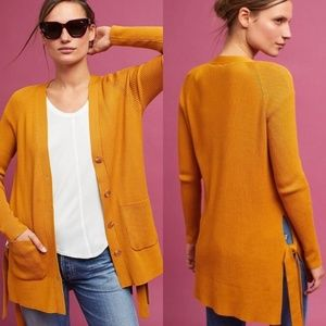 Anthro Moth Anna Ribbed Mustard Side Tie Cardigan